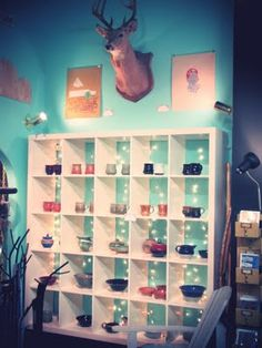 Pottery (by Derek Gladen) display at Yellow Umbrella, a handmade gift shop in Bemidji, MN
