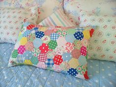 Patchwork pillow.  Heart it.  I snazzied up my Parcheesi game board with a similar vintage fabric and lots of washi tape.  It is so cute, I want to marry it.