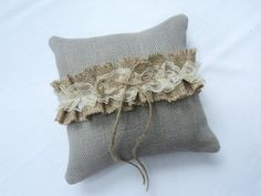 Choose Your Color Burlap Ring Pillow Burlap by theruffleddaisy