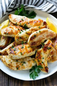 Lemon Garlic Marinated Chicken, to Recipe Print Recipe LC KF Lemon Garlic Marinated Chicken tenders make a great snack or quick treat during the day. They are a super delicious . Chicken Recipes Video, Chicken Tender Recipes, Chicken Tenderloin Recipes Healthy, Recipes For Chicken Tenders, Marinated Chicken Recipes, Chicken Nuggets, Grilled Chicken, Healthy Chicken, Garlic Chicken