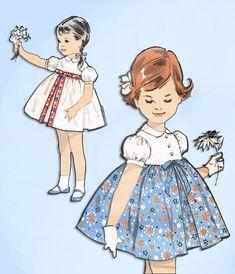 1960s Original Vintage Advance Pattern 2774 Toddler Girls High Waisted Dress Sz6 #Advance #HighWaistDress