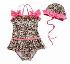 Toddler Girls Swimsuit / Bath Suit, Leopard Animal Print, One-Piece Swimwear, Size 5