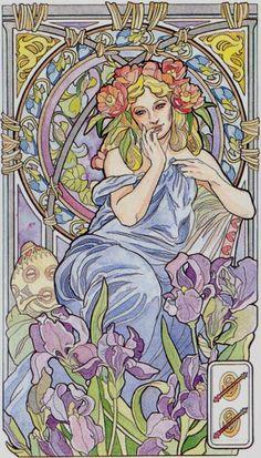 2 de bâtons - Tarot art nouveau par Antonella Castelli