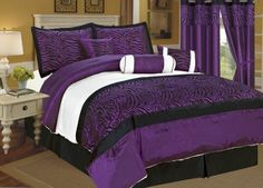 "7 Pc Flocking Zebra Satin Comforter Set Bed In A Bag King Purple/Black/White by AHF. $60.94. 2 Pcs Pillow Shams (20"" x 36""). 1 Pc Decorative Pillow , 1 Pc Neckroll. 1 Pc Square Cushion. 1 Pc Comforter (101"" x 86""). 1 Pc Bedskirt (78"" x 80"" + 14"" Drop). 7 Pieces Flocking Zebra Comforter Set.  This comforter set will give your room a new look!      Style#: Kelly      Condition: Brand New     Size: King     Design: Zebra     Color: Purple/Black/White     Material: Poly Satin"
