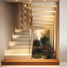 Indoor Garden Office and Office Plants Design Ideas For Summer 63 Home Stairs Design, Interior Stairs, Modern House Design, Staircase Wall Decor, House Staircase, Interior Garden, Home Interior Design, Modern Stairs, Architecture Design