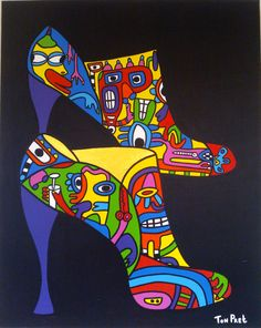 Painting (80cm x 100cm) Art, step into fashion. By Ton Pret