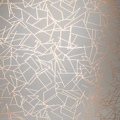 Angles by Erica Wakerly - Copper Rose / Zinc Grey - Wallpaper : Wallpaper Direct Copper Wallpaper, Metallic Wallpaper, White Wallpaper, Geometric Wallpaper, Pattern Wallpaper, Damask Wallpaper, Modern Wallpaper, Bedroom Wallpaper Gold, Bedroom Feature Wallpaper