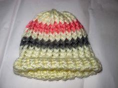 Knit Baby Hat: white w/ pink & gray stripes