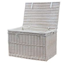 This large storage trunk comes with a lining that can be removed and washed with ease, perfect for any room in the house! Lined Wicker Baskets, Wicker Storage Trunk, Wicker Baskets With Handles, Rattan Basket, Storage Baskets With Lids, White Rope, Bathroom Storage, Storage Solutions, Storage Chest