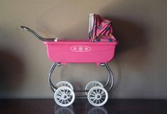 Vintage Pink Plastic Baby Doll Carriage  Retro