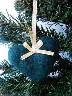 Dark Green Heart Christmas Tree Ornament with by CurlyHairMonsters, €4.00
