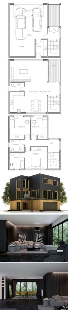House Plan, Home Plan, Floor Plan - Home Decor Contemporary House Plans, Modern House Plans, Small House Plans, Dream House Plans, House Floor Plans, House Arch Design, Apartment Plans, Sims House, House Layouts
