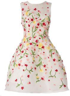 Oscar de la Renta floral embroidered sleeveless dress