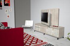Varias opciones de paneles TV diferentes para el salón