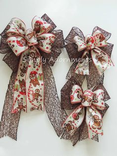 Gingerbread man Christmas tree bows by Simply Adornments https://www.etsy.com/listing/485753759/gingerbread-christmas-gift-bows-brown?ref=shop_home_active_27