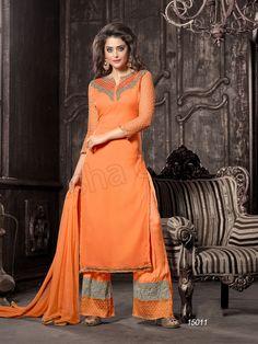 #Designer Staright Suits#Orange #Indian Wear#Desi Fashion #Natasha Couture#Indian Ethnic Wear# Salwar Kameez#Indian Suit#Pakastani Suits# Palazoo Suit