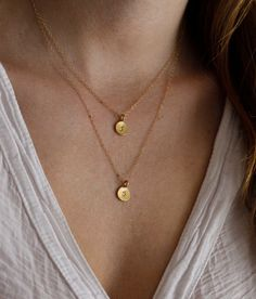 Layered Initial Necklace Two initial  Personalized by MinimalVS, $66.00