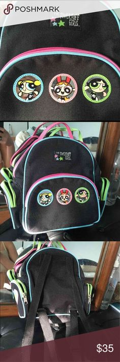 90's Powerpuff Girls Backpack In perfect condition, no flaws or smells! Mine in the 90s, true vintage purchased around 1999. Multiple fully functional pockets and side pockets/spaces to store stuff! 10 by 9 inches. Powerful girls are metallic and shiny! Zippers have cute multi colored accents. Kawaii Vintage Bags Backpacks