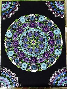 Mano pintada punto Mandala de 9 x 12 tablero de la