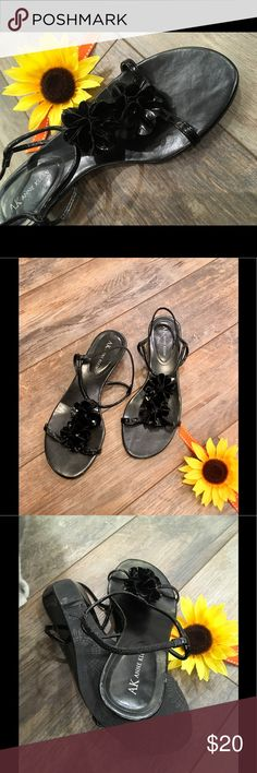 """Super cute sandal wedges Anne Klein sandal wedges with plastic flowers, very comfortable. 1 1/2"""" height. Anne Klein Shoes Sandals"""