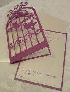 Wedding Day Invitation With Rsvp Package Vintage Birdcage Decorated Swarovski Crystals