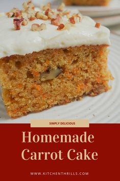 This deliciously moist carrot cake is a super easy recipe which is very simple to make at home. Taste Of Home Carrot Cake Recipe, Cake Recipes At Home, Cake Receipe, Homemade Carrot Cake, Easy Carrot Cake, Moist Carrot Cakes, Delicious Cake Recipes, Homemade Desserts, Easy Cake Recipes