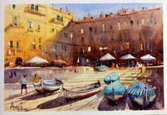 Watercolor Artists, Watercolor Paintings, Street View, World, Cityscapes, Masters, India, Water Colors, Master's Degree