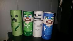 Minecraft puppets made from toilette paper rolls Toilet Roll Craft, Toilet Paper Roll Art, Rolled Paper Art, Projects For Kids, Diy For Kids, Crafts For Kids, Minecraft Birthday Party, Boy Birthday Parties, Paper Towel Roll Crafts