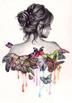 ʚįɞ Beautiful ༻ Butterfly Illustration by Unknown Artist Art Papillon, Art Amour, Butterfly Art, Butterfly Sketch, Butterfly Dress, Madame Butterfly, Butterfly Painting, Butterfly Watercolor, Butterfly Kisses