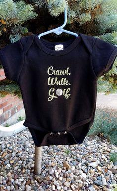 Crawl Walk Golf Baby Onesie Golf Baby Custom by ShoeBoxSnapShots