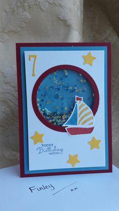 Swirly Bird boat shaker card for boy's 7th birthday