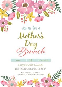 Mothers Day Tea Invitation Template Free Mothers Day Brunch