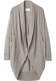 I would like to find a cheaper version of a cardigan in this style. Search terms to try include shaw collar, dolman sleeves, dropped shoulders