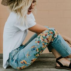"ROOLEE Boutique on Instagram: ""Embroidered denim in bloom!"""