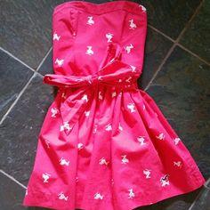 Hollister dress Pink Hollister dress with white birds. Has a fabric belt that ties around the waist. Sooo cute! Hollister Dresses