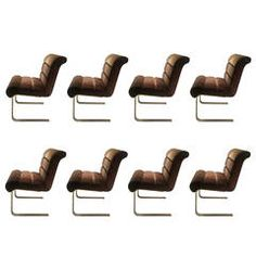 Set of 8 Brass Dining Chairs by Pace