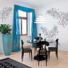 Large Peacock Feathers wall stencil set