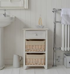 Bathroom cabinets and storage furniture. Wide range of sizes and styles. The Cape Cod bathroom drawers Narrow Bathroom Cabinet, White Bathroom Storage, White Bathroom Furniture, White Bathroom Cabinets, Bathroom Drawers, Cottage Furniture, White Furniture, Bedside Cabinet, Furniture Ideas