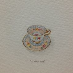 Day 106 : Teacup and saucer - tiny watercolour | 365 Paintings For Ants / Lorraine Loots