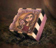 The Lavender Faerie  Mixed Media Wooden Keepsake Box by darkfaerie, $65.00