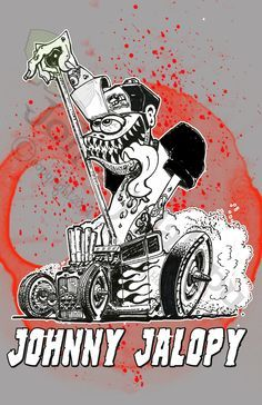 "ruckus rod and kustom   American Graffiti 32 Ford   American Graffiti 1932 Milner's Deuce Coupe Cartoon Print 8-1/2"" X ..."
