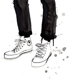 Print from original watercolor and pen fashion illustration by Jessica Durrant titled, Chucks in the City.