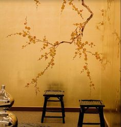 gold cherry blossom wallpaper bedroom - Google Search