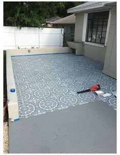 Stenciled Concrete Floor, Painted Concrete Floors, Painted Cement Patio, Painting Concrete Porch, Patio Diy, Backyard Patio, Patio Ideas, Backyard Ideas, Diy Concrete Patio