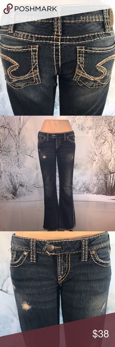 "Silver Tuesday Jeans 👖 Size 31 😍 Nice pair of lightly distressed denim jeans 👖 by Silver. These are a low rise bootcut and are stretchy. Size 31 waist measures 16"" and are 31"" long. ❤️😊🐾🐾 Silver Jeans Jeans Boot Cut"