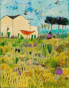 Prarie Bird 15.5x19.5  acrylic on canvas  at Anne Irwin Fine Art Jane Filer