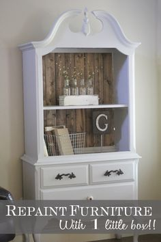 Repaint furniture with 1 little box!!!- will have to try this system- LOVE the wood in the back of the cabinet