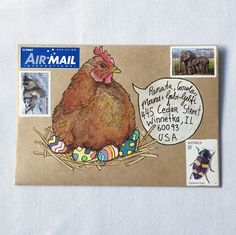Three original drawings to make your own mail-art