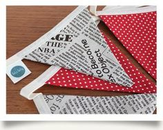 """30 May - Take a peek at today's favourite lot  - """"read all about"""" this retro Newspaper print & red spotty cotton bunting (8 double sided flags) - perfect for adding that touch of retro loveliness to any room or party. Retro Dotty is also pleased to make bunting to match your particular colour scheme or theme... On sale for £12 or best offer.  For more details and photos please visit http://www.vintassion.com/retro-dotty/S25"""