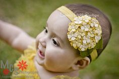 Ярко-желтый Шерсть Войлок Гортензия цветы повязка - немного светового дня - Младенческая, детка, Малыш, Девочка, фотография Опора